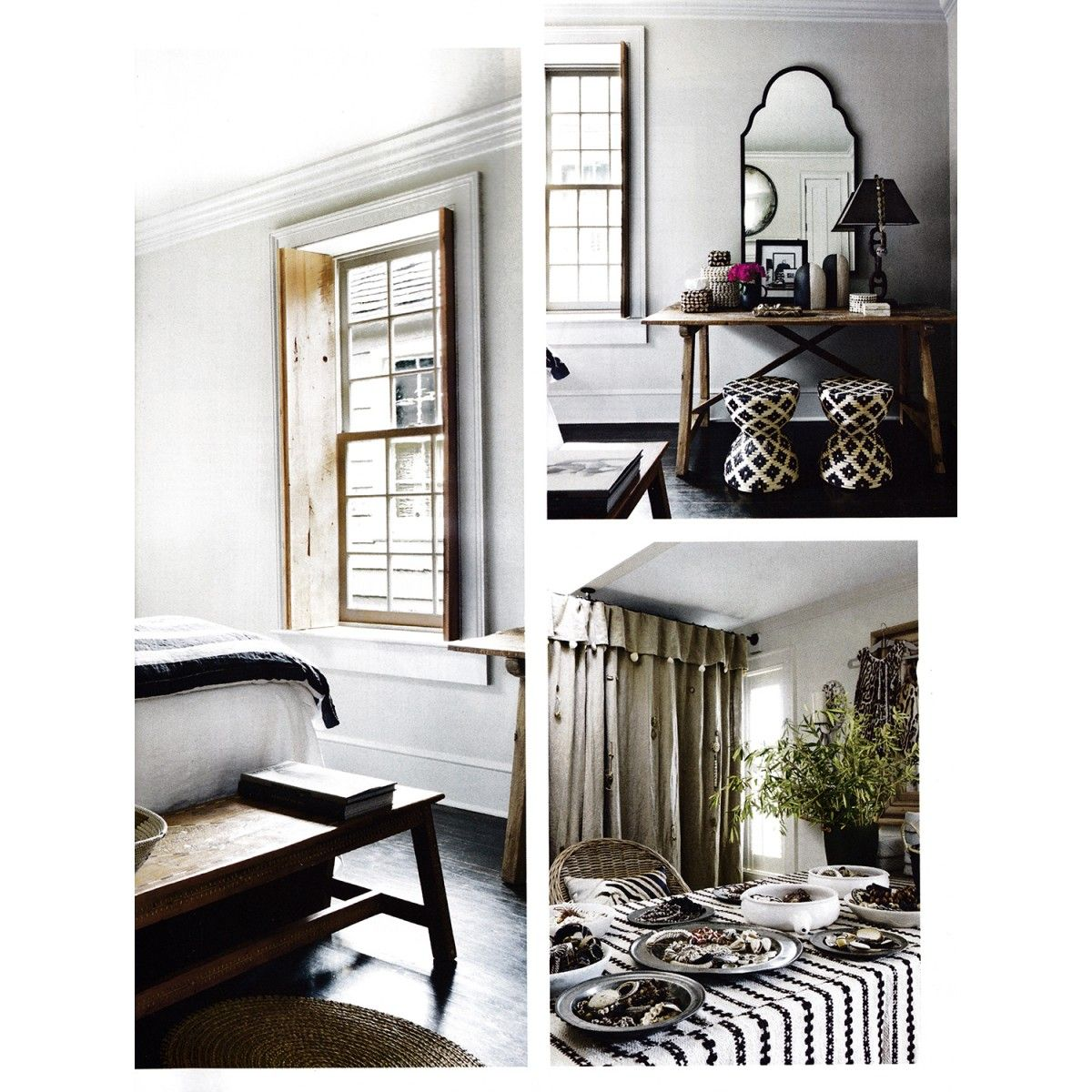 Palecek Woven Rattan Black & White Hourglass Stool/Table | Rooms ...