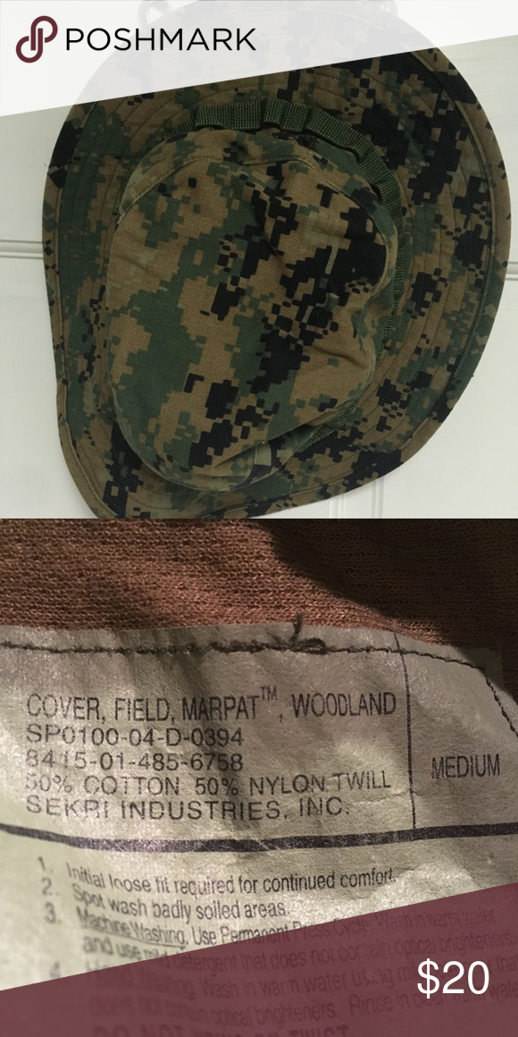 1ce68692a8a EUC Marine Corps Woodland Digital Boonie Hat Woodland Boonie Cover. Digital  green cammie print (MARPAT) USMC issue. (Random EGA in pattern.