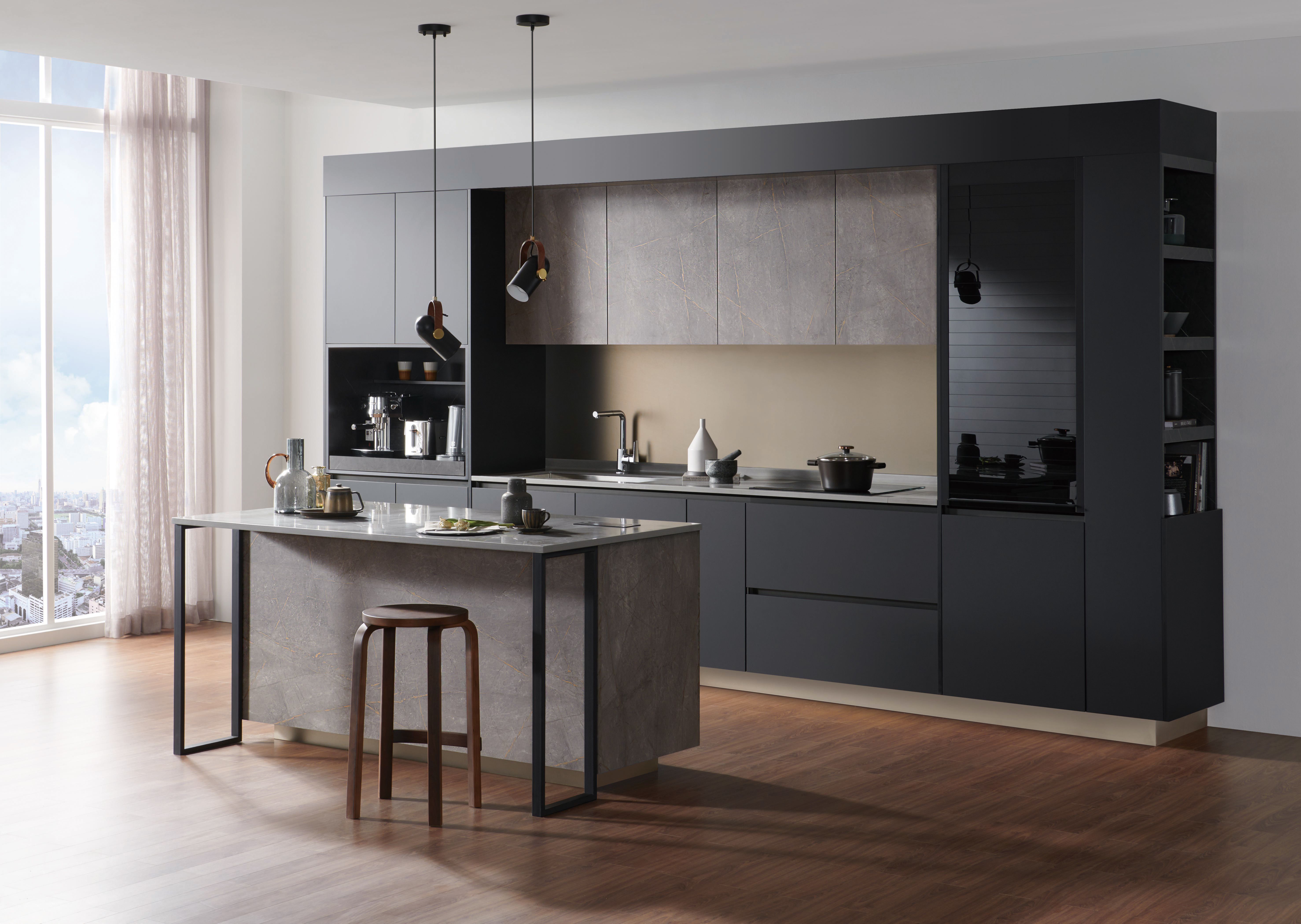 Combine The New Rauvisio Noir With Our Contemporary Tambour Door For The Perfect Kitchen Look In 2020 Custom Cabinet Doors Contemporary Cabinets Modern Spaces