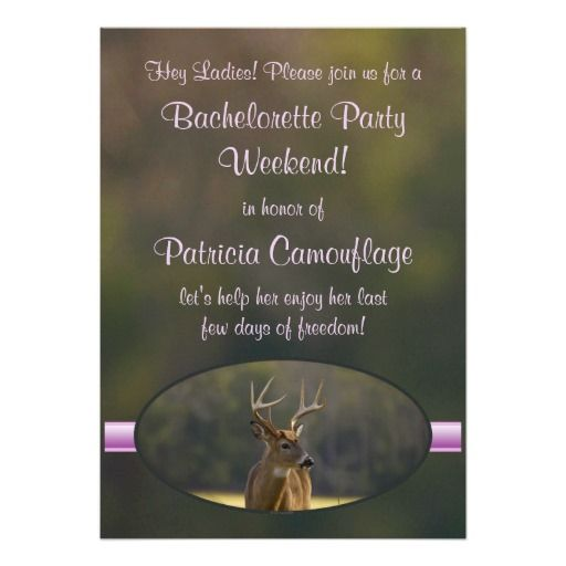 Hunting Funny Camo Green Pink Bachelorette Party Personalized Announcements