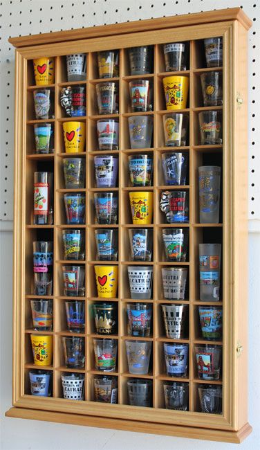 Wall Shadow Box Cabinet Rack To Hold 56 Shot Glasses Display Case