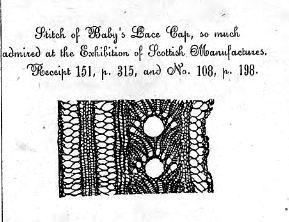 Een voorbeeld uit het boek van Jane Gaugain uit 1845 (geloof ik). Heel mooie patronen beschrijft ze, maar de beschrijving is anders dan ik (we) gewend zijn, als je eens wilt proberen, of de andere patronen wilt bekijken, klik dan hier: http://onlinebooks.library.upenn.edu/webbin/book/browse?type=atitle=x=gaugain (een lijst van haar boeken) of hier http://pdf.library.soton.ac.uk/WSA_open_access/00394025.pdf (haar boek uit 1845)