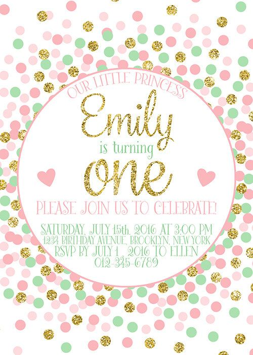 First Birthday Invitation Girl's Birthday by EllenPrintable