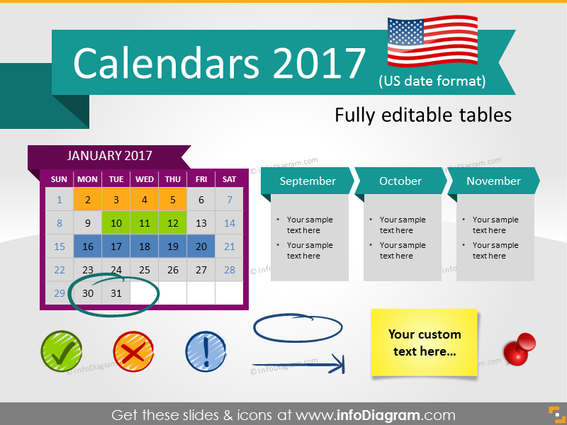 Calendars  Timelines Graphics Us Format Ppt Tables And Icons