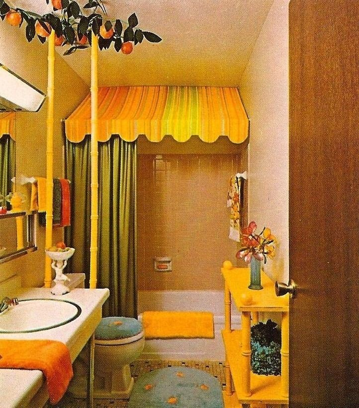 Picture of cute yellow teen bathroom ideas for small space with canopy bathub and green shower curtain floating wash stand wallpaper chic orange also best   decor inspiration images diy home rh pinterest