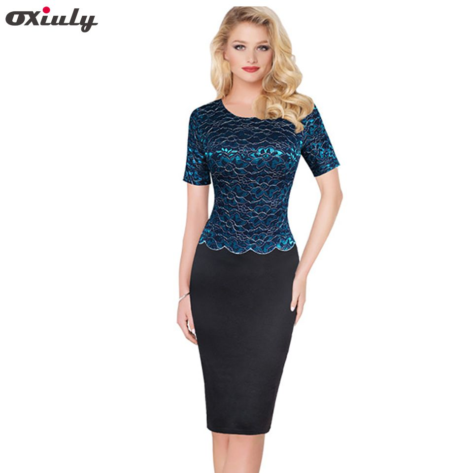 f9d5826a4754c Oxiuly Womens Elegant Black Floral Lace Patchwork Wear to Work ...