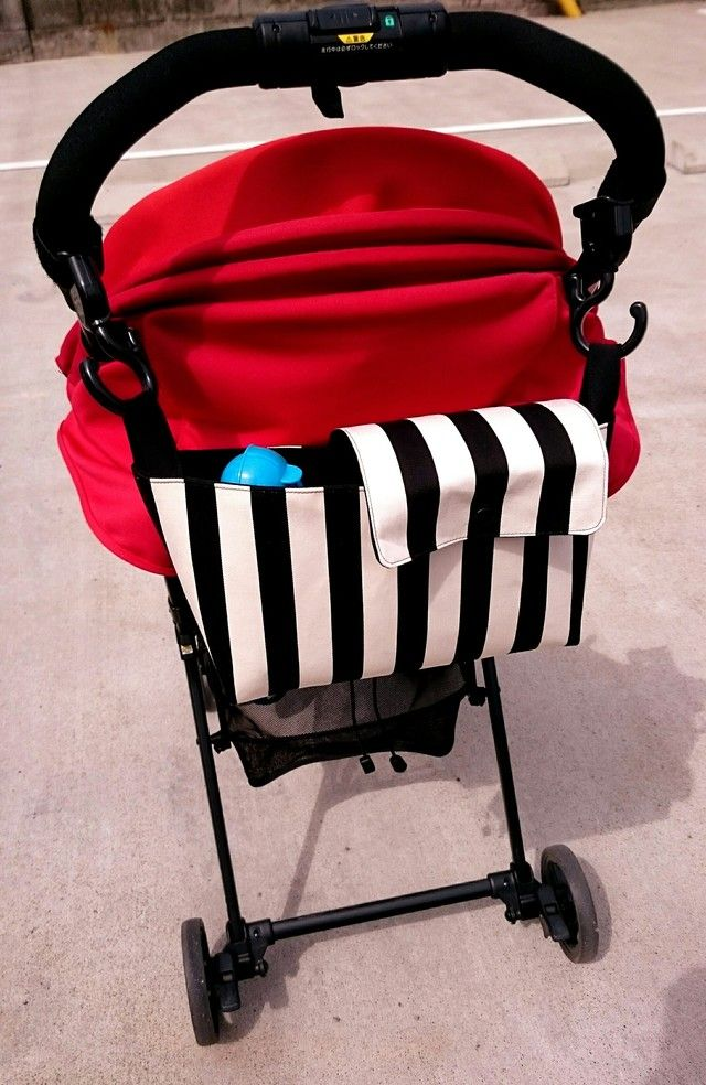 再販 ベビーカー バッグ 小物収納 ドリンクホルダー フック取り付け 白黒ストライプ ベビーカー 赤ちゃん用品 赤ちゃん 手作り