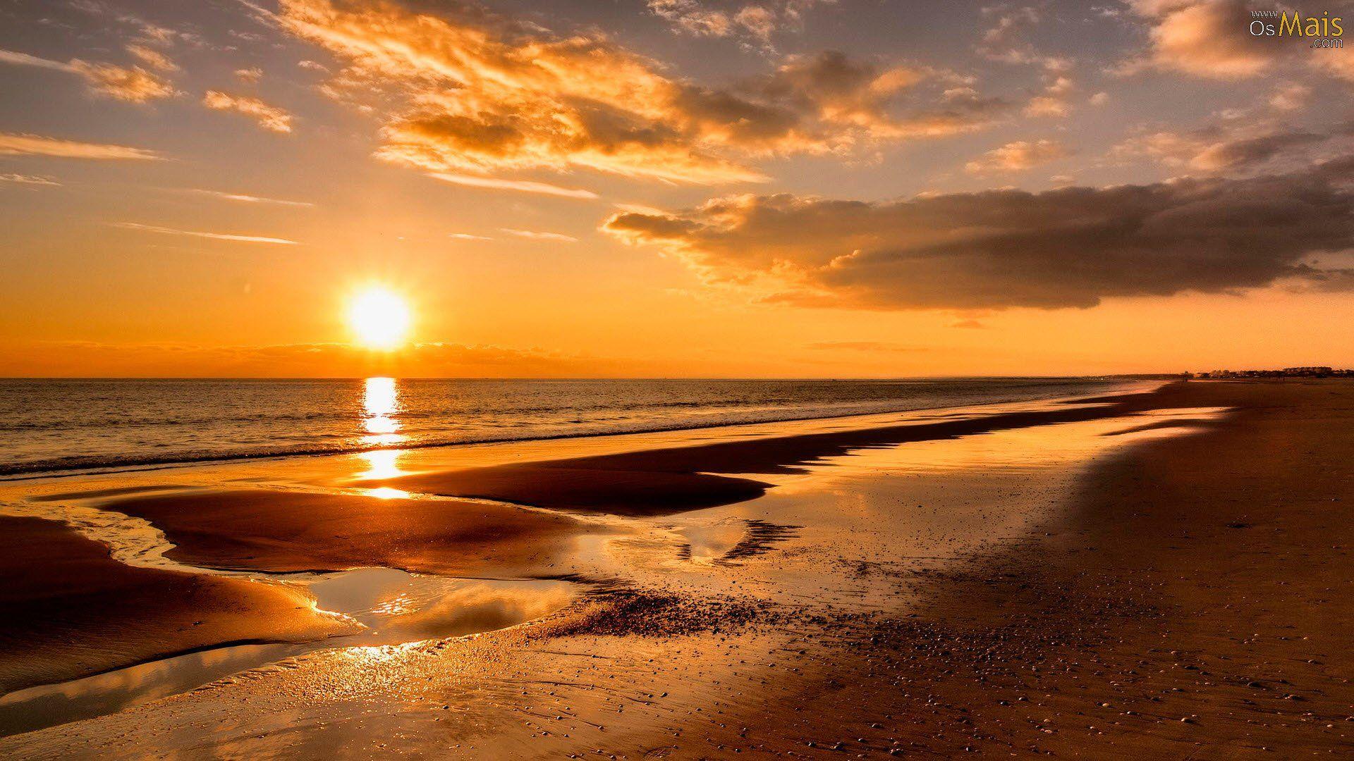 Por Do Sol Na Praia Wallpaper Por Do Sol Praia Por Do Sol