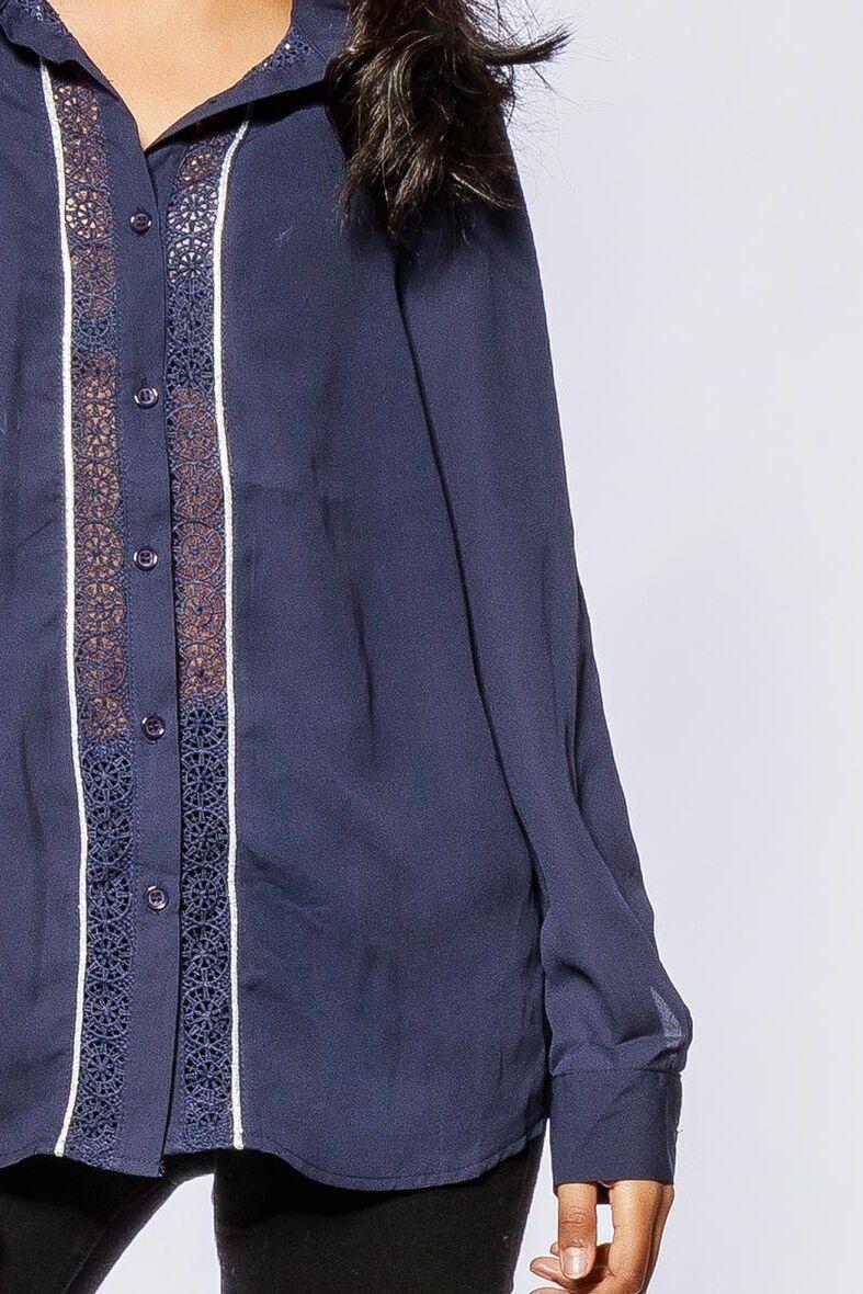 501e7ff7d09f Dámska modrá košeľa s krajkou