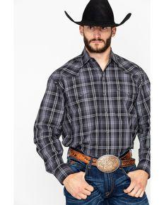 b904b0b5b Stetson Mens Black Large Plaid Long Sleeve Western Shirt