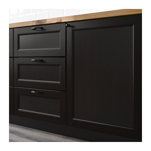 IKEA Laxarby pantry and fridge cabinet | Black kitchen ...
