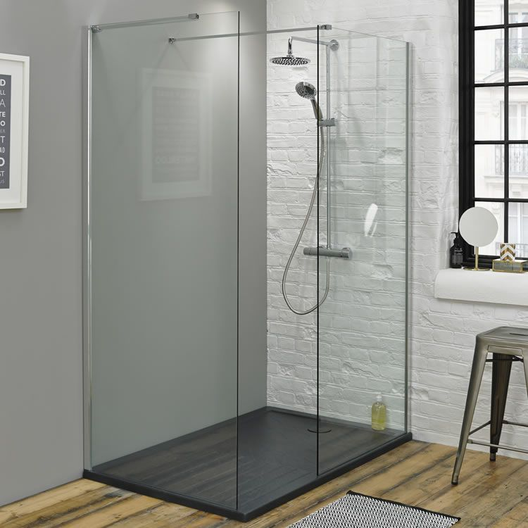 Summit 1400 x 900mm Walk In Shower with End Panel & Slate Effect ...