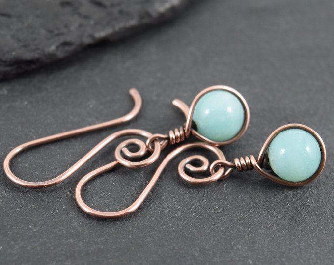 Round Purple Amethyst Bead Wire Wrapped Earrings Beaded | Etsy