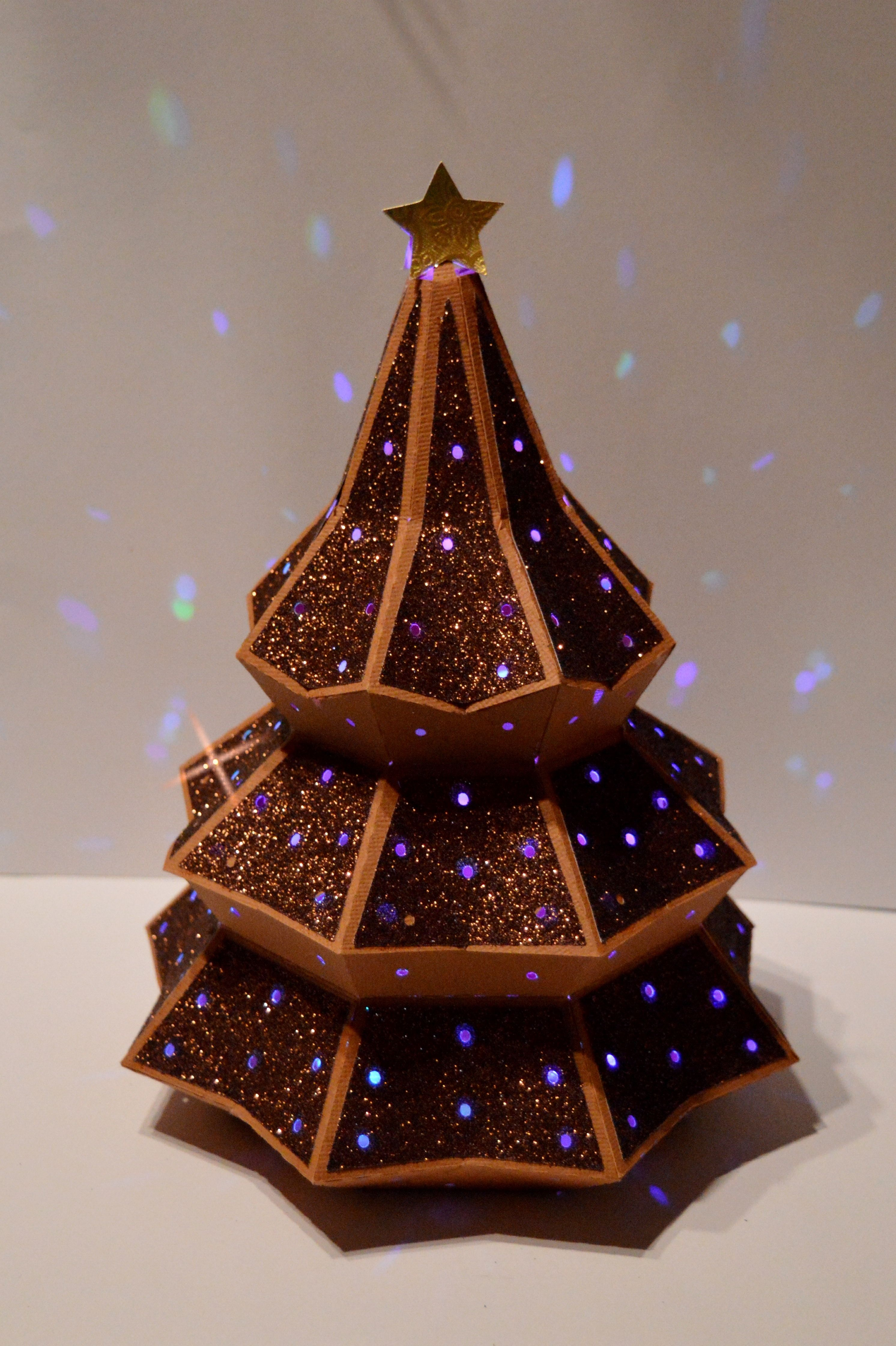 3D Christmas Tree with brown glitter paper. Designed by