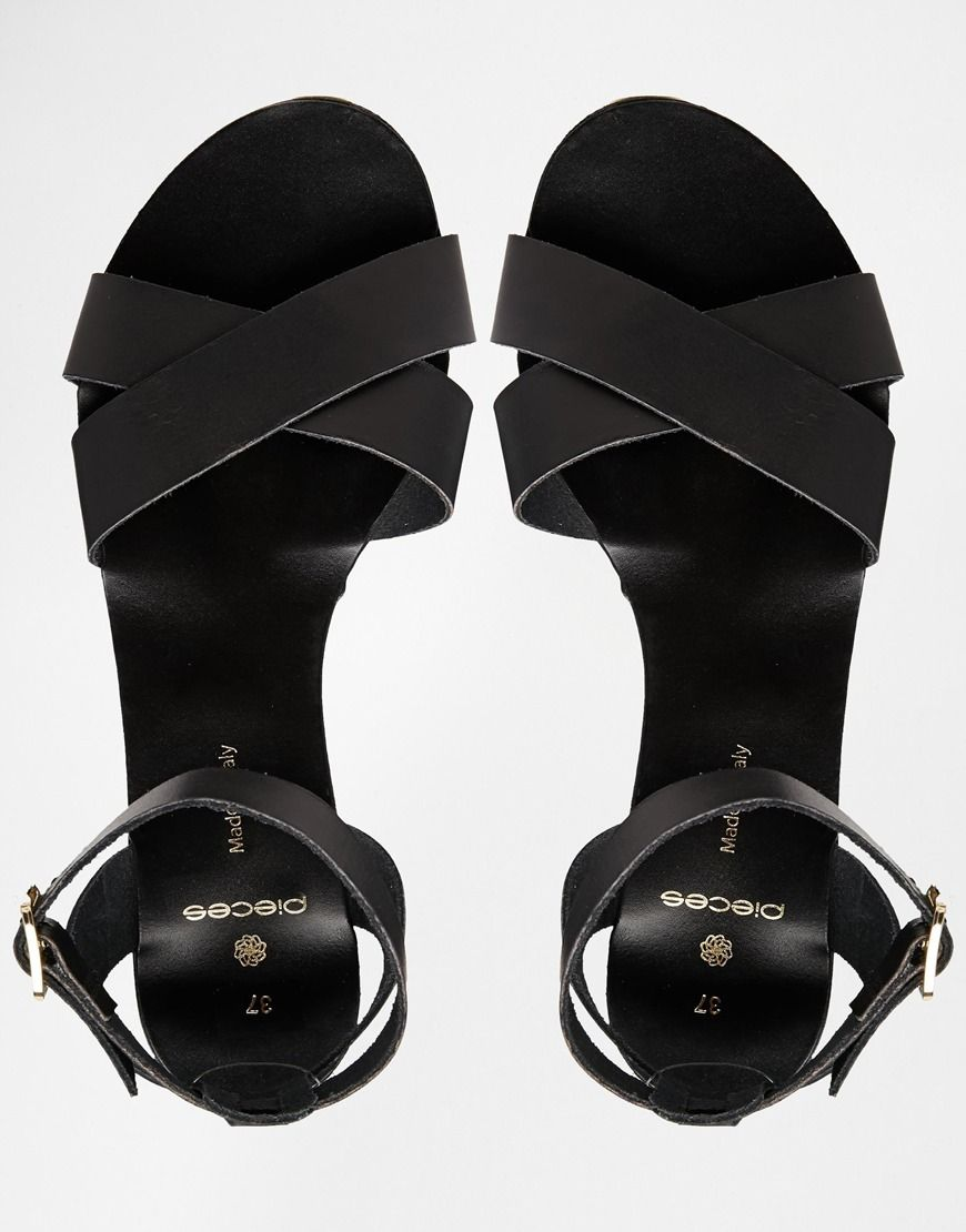 6edcc54253d6 Image 3 of Pieces Black Leather Sara Flat Sandals