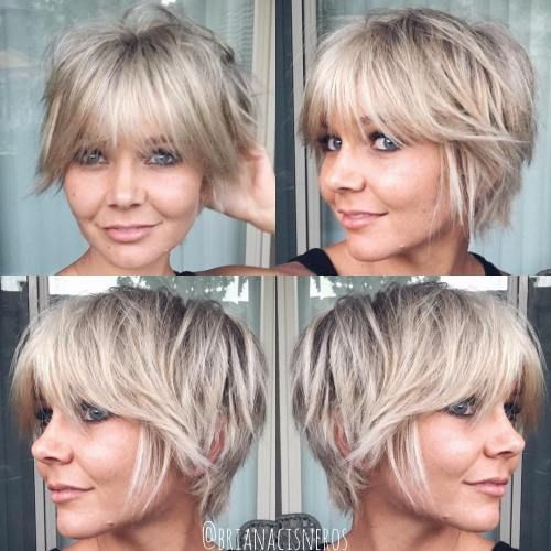 Top 60 Flattering Hairstyles for Round Faces #coiffurescheveuxcourts