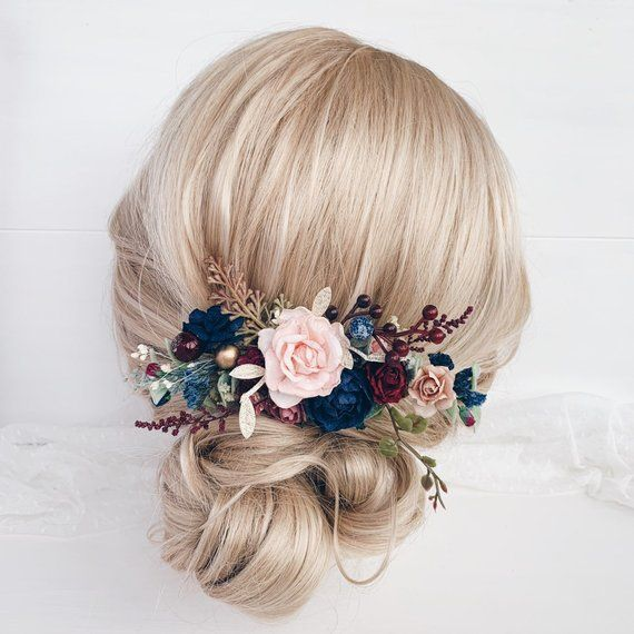 Flower hair comb, Navy flower hair comb, Bridal Flower hair clip, Wedding hair piece
