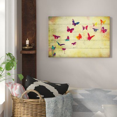 Bungalow Rose Flutter Away Graphic Art on Wrapped Canvas
