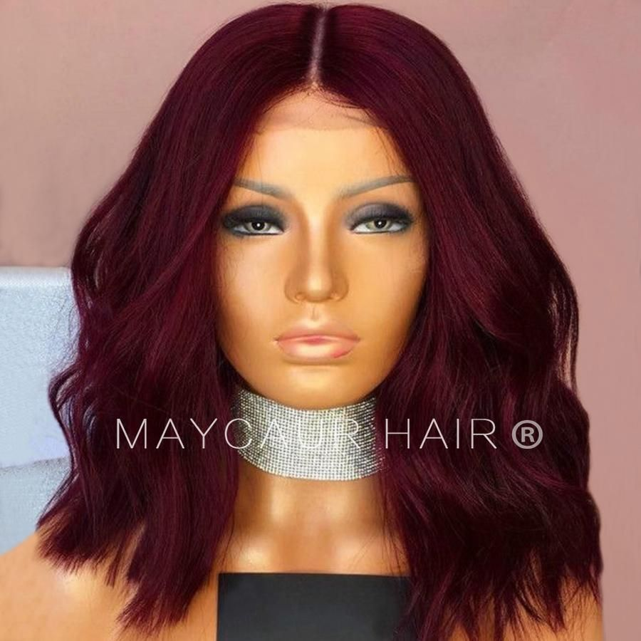 Black red color full lace human hair wigs short bob hair wavy lace