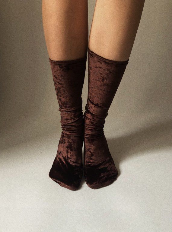 a3e211373 BROWN CHOCOLATE color VELVET socks