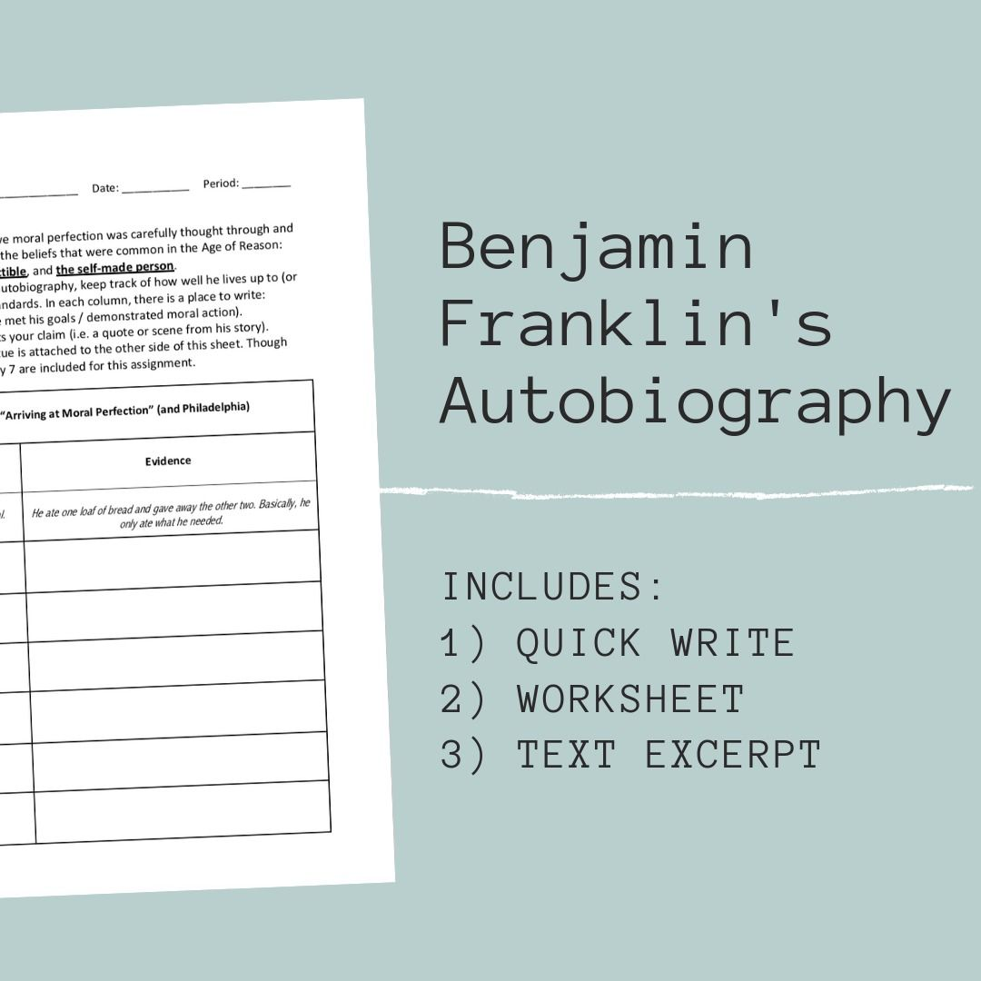Benjamin Franklin S Autobiography Is An Important Piece Of