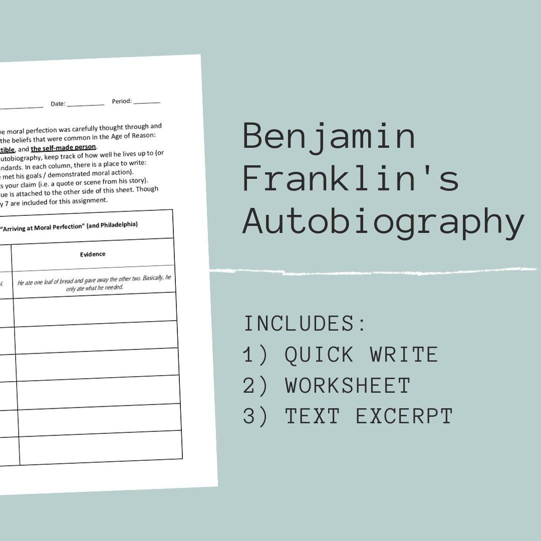 Benjamin Franklin S Autobiography Worksheet Set
