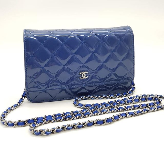 8e79b390cfd4fa Preloved Chanel Wallet On Chain Blue Patent Silver Hardware Serial code  starting with