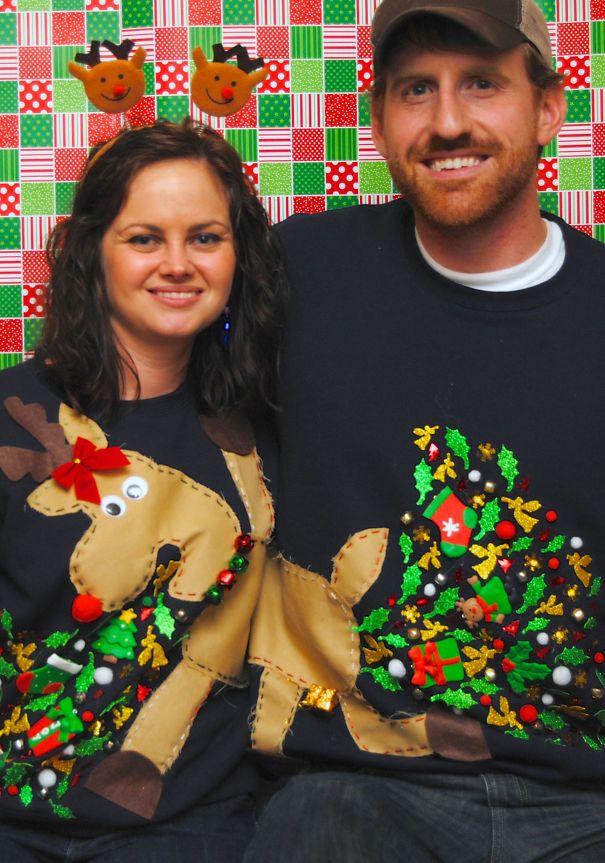 Couples Christmas Party Ideas Part - 19: Couples Reindeer Ugly Christmas Sweater ITu0027S GONNA HAPPEN EIVAN