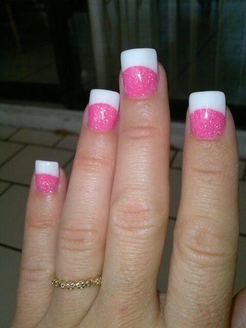 Pink And White Acrylic Glitter Powder With Gel Top Coat Nails