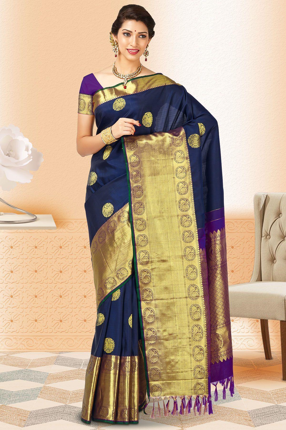 f6cf08ed043755 Navy Blue   Gold Kanchipuram Silk Zari Woven Saree-SR24277 ...