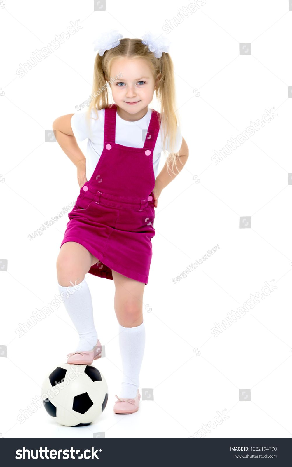 Adorable Little Girl With A Soccer Ball The Concept Of Children S Sports Summer Outdoor Recreation Isolated On Wh Girls Soccer Cute Little Girls Soccer Ball