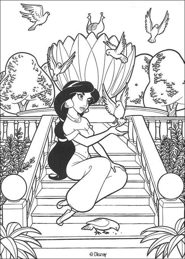coloring page about aladdin disney movie nice drawing about the beautiful princess jasmine and birds