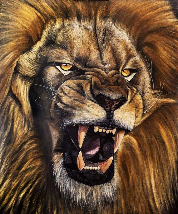 Rugido De Leon La Pintura Al Oleo Con Imagenes Leones Animales