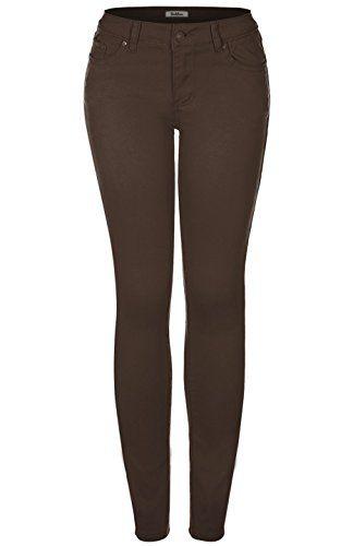 bdad382dfaaab 2LUV Women's Stretchy 5 Pocket Skinny Jeans Dark Brown 0 (JS-174-51 OR  J6169-Dark Brown)
