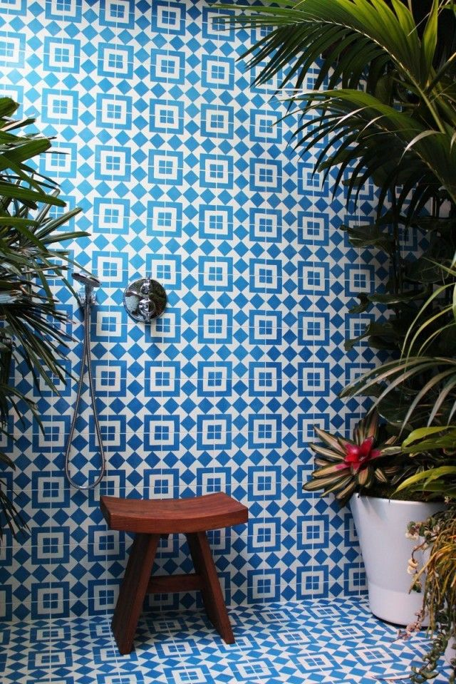Beautiful Blue Tile And Jungle Plants In The Shower