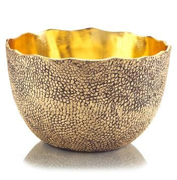 Gold Decorative Bowl Cecile Hollywood Regency Hammered Antique Brass Gold Gloss Round