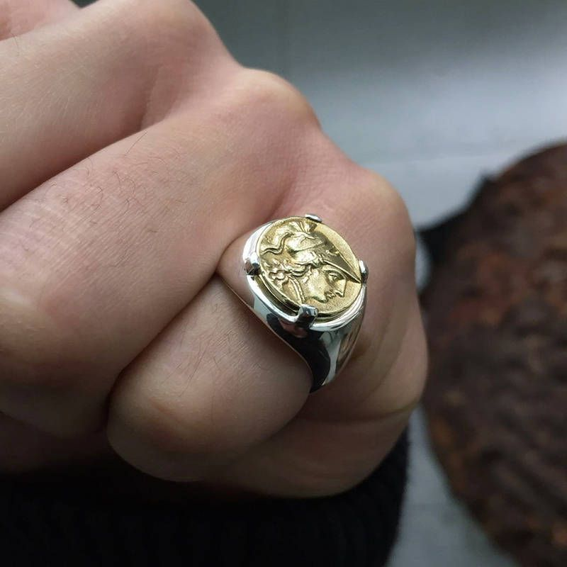 3488fdd8b9c38 18K Gold Coin Ring | Brass Coin Ring | Ancient Greek Coin Ring ...
