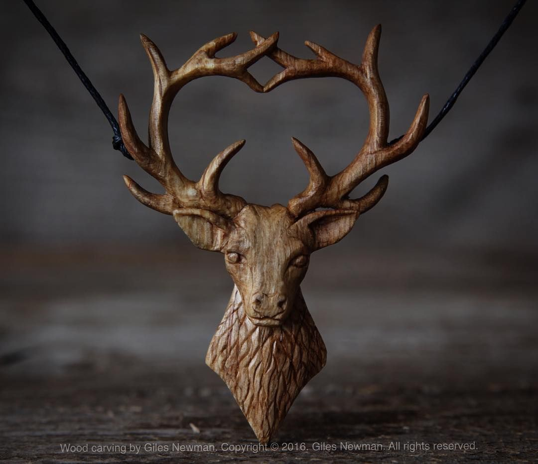 It's taken a few days to carve but here's the finished Oak Stag pendant. Hand carved by knife from ancient English Oak. He stands at 7.5cm / 3in tall and the antlers are 5.6cm / 2.2in across. . . #pendant #talisman #faerie #fae #handcarved #jewellery #handmade #spiritual #woodcraft #oak #carving #stag #got #baratheon #gameofthrones #craftwork #maker #woodcarving  #slowlife #boho #bohemian #hippiestyle #hippie #gilesnewman