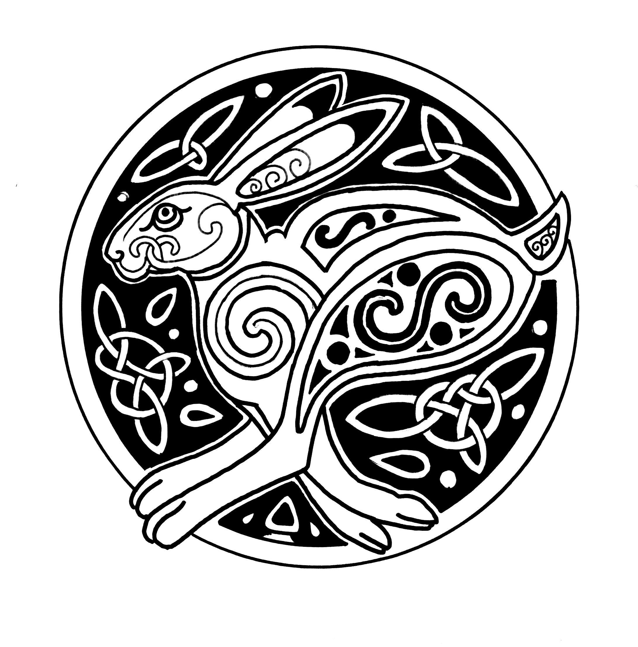 Celtic hare   Celtic art, Bunny art, Hare painting