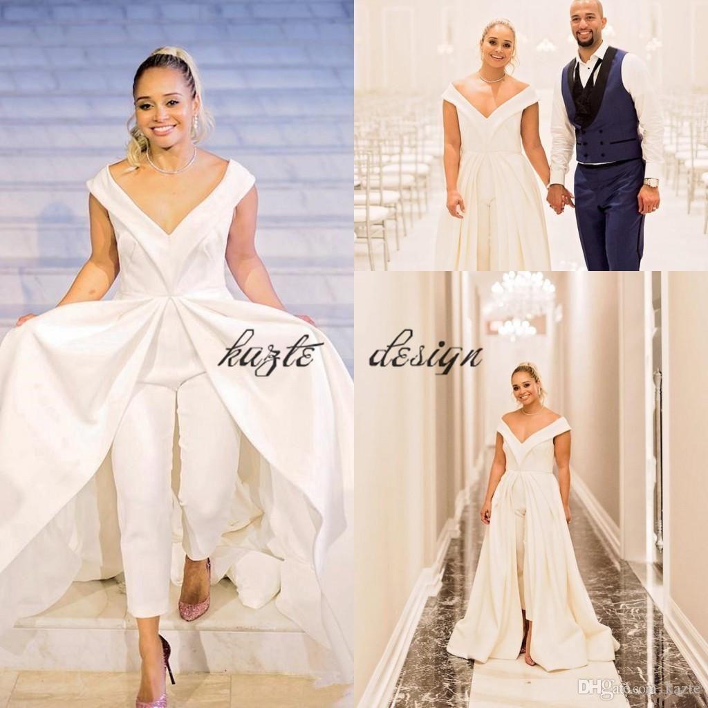 2018 women jumpsuit wedding dresses elegant white satin. Black Bedroom Furniture Sets. Home Design Ideas
