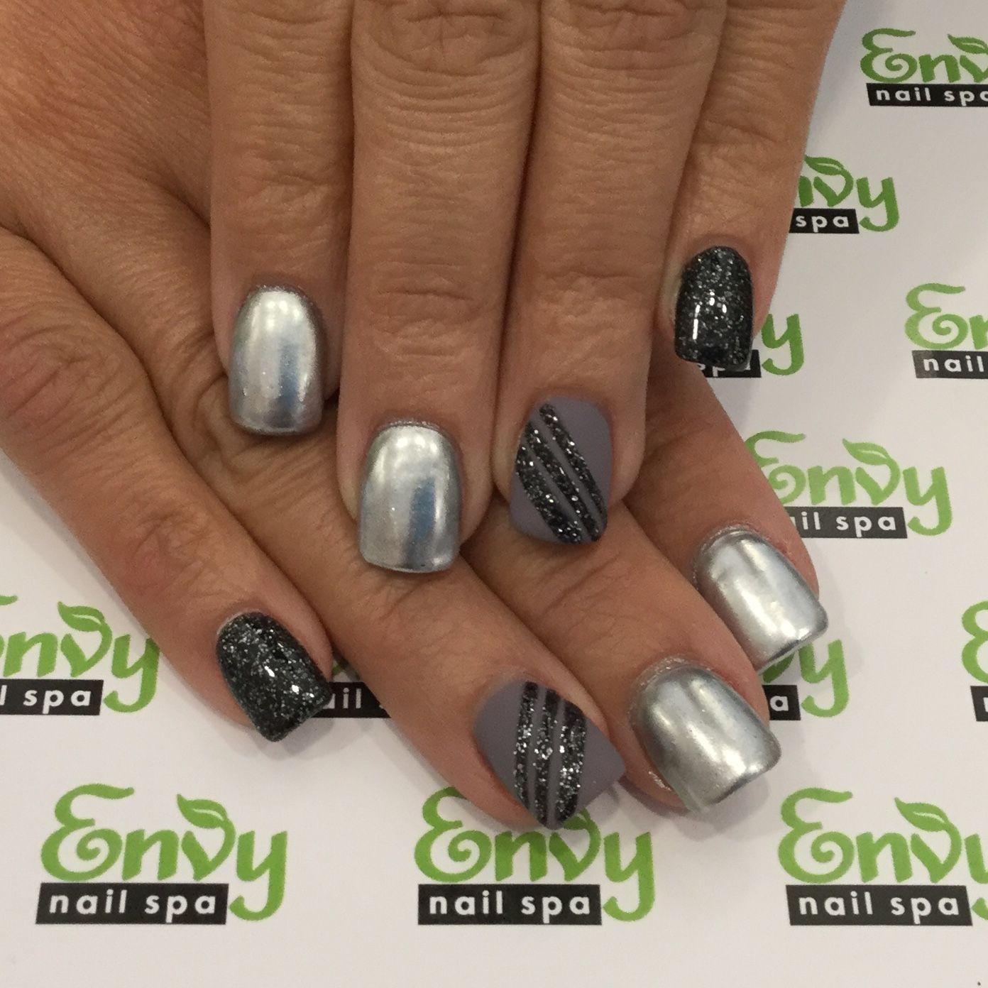 Matte, Silver, Grey, Black Glitter, Stripe Nails - Envy Nail Spa ...