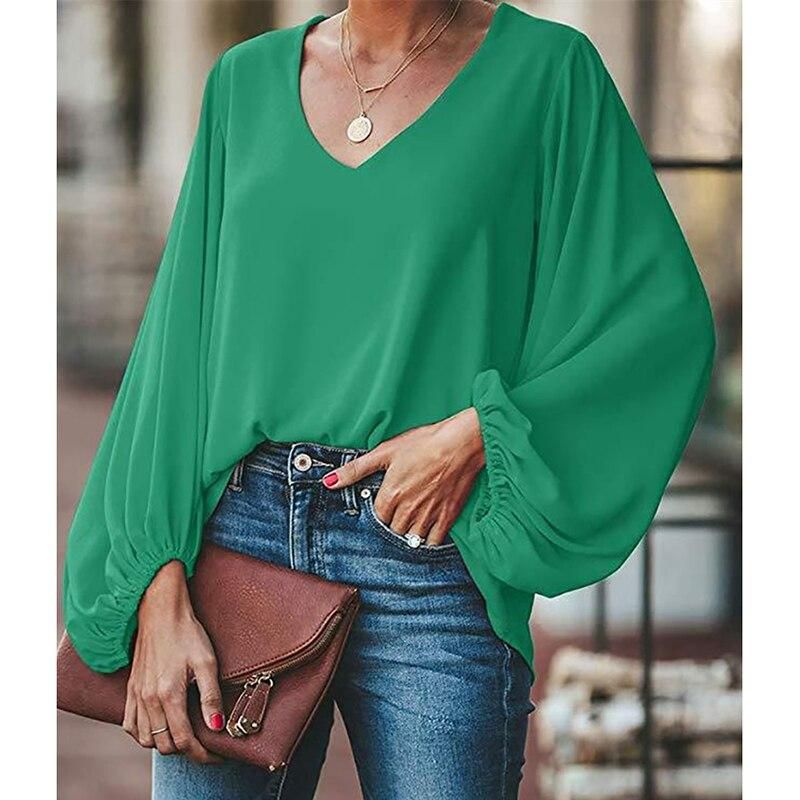 3XL plus size blouse women puff sleeve solid color
