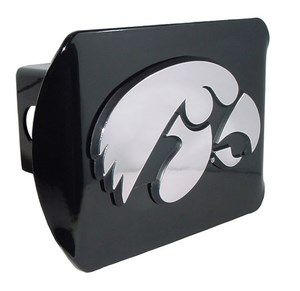 University of Iowa Hawkeyes Mascot Logo Black and Silver Chrome Trailer Hitch Cover is for the University of Iowa or NCAA, Iowa Hawkeyes sports fan and comes on a black background with large, silver University of Iowa Hawkeyes mascot logo.
