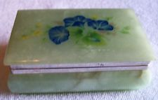 Hand Carved Painted Floral Alabaster Trinket Box Italy Jewelry Box