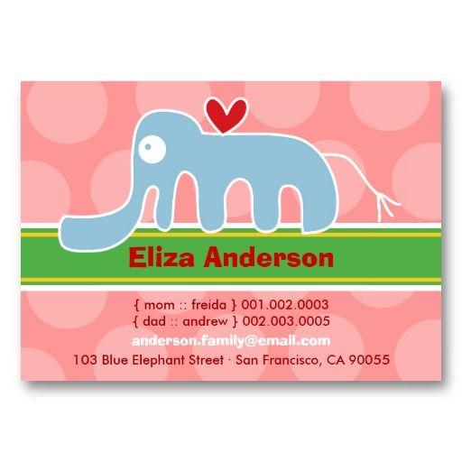 Cartoon Elephant Kid Photo Profile Name Card Business Card - Kid business card template