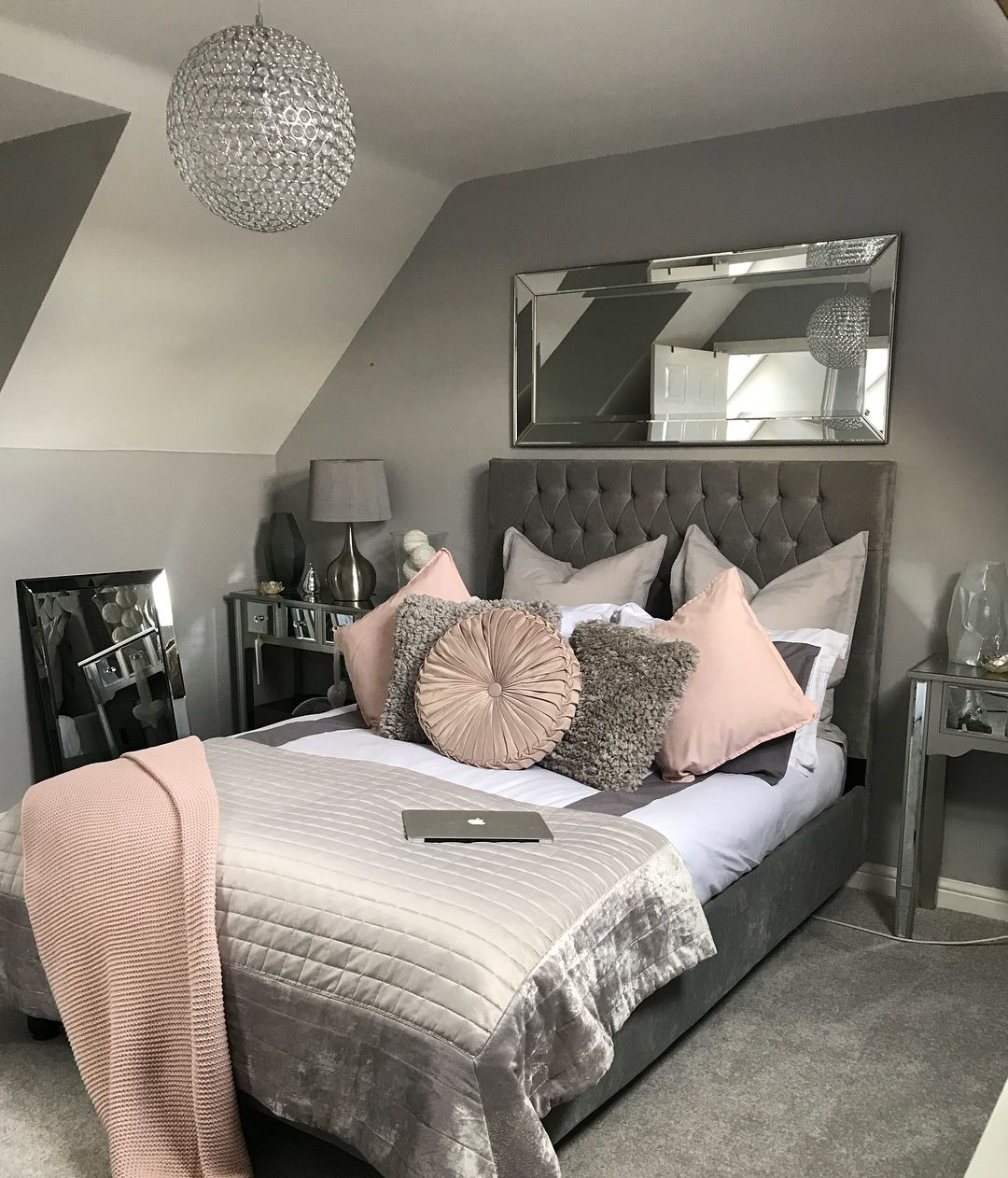 Master bedroom decorating ideas gray  Love my cuteee bedroom now everythingus finally complete  Home