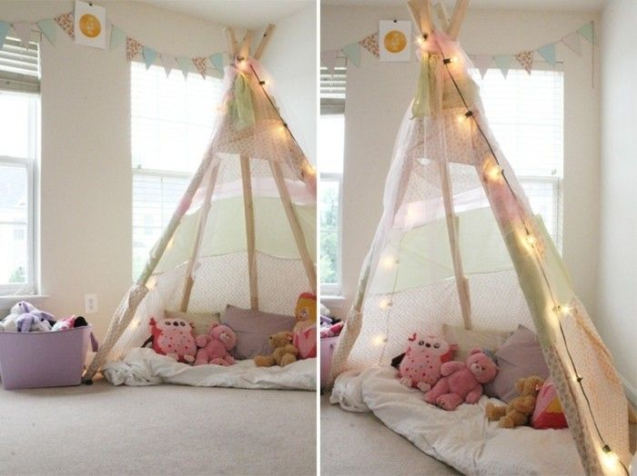 comment fabriquer un tipi 60 id es pour une tente indienne sympa pinterest chambre enfant. Black Bedroom Furniture Sets. Home Design Ideas