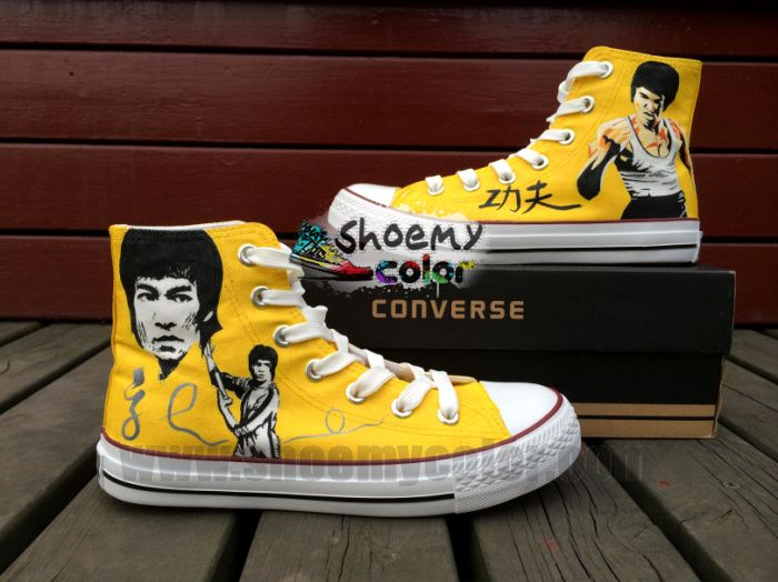 abbd5e0e248c Bruce Lee Custom Hand Painted White Converse Canvas High Top Shoes for  Women Men