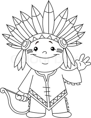 Stock Vector Of Outlined Indian Kid Coloring Page Desenler