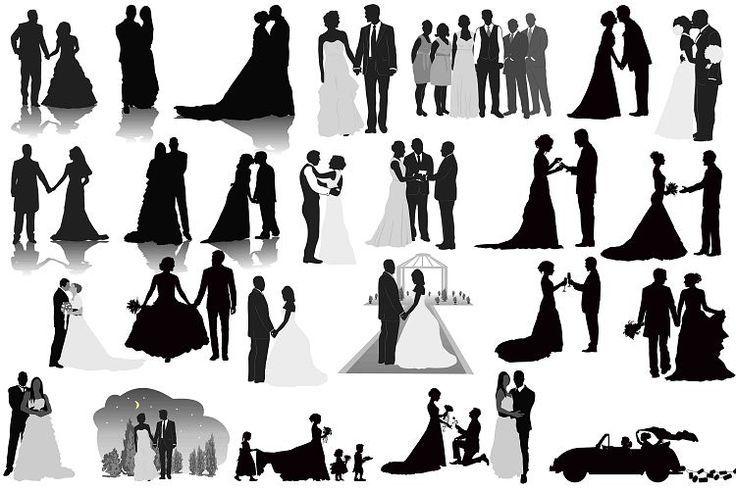 wedding silhouettes clip art wedding party silhouettes clip art rh pinterest com silhouette wedding party clipart Wedding Party Gifts